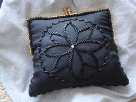 1960's Black Evening Bag with Flower Detail (SOLD)